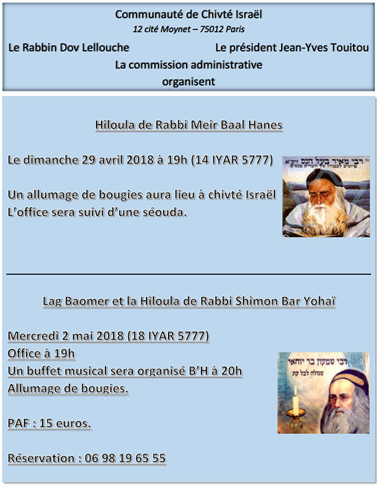 Hiloulot de Rabbi Meir Baal Hanes et Rabbi Shimon Bar Yohaï